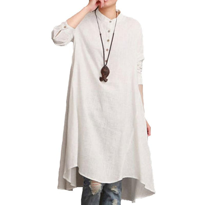 2019 New Women's Cotton and Linen Loose Large Size Collar Shirt Long Skirt