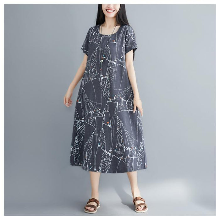 Cotton and Linen Dress Female Summer 2019 New Loose Summer Large Size Cover Belly In Long Cotton Skirt