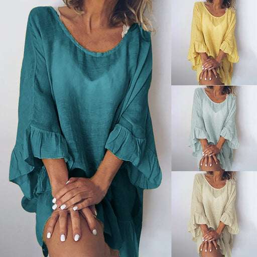 2019 Women's Casual Solid Color Dress Stitching Lotus Leaf Sleeve Loose Blouse
