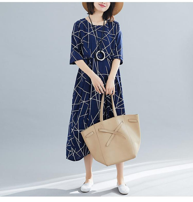 2019 Summer New Loose Cotton and Linen Large Size Women's Wild Slim Dress