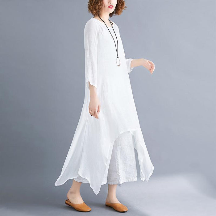2019 Spring and Summer New Solid Color Irregular Large Swing Linen Ladies Dress Loose Long-sleeved Cotton Skirt
