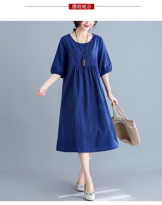 Literary Solid Color Cotton and Linen Loose Round Neck Five-point Sleeve Dress Female High Waist Long Section 2019 Summer New Real Shot