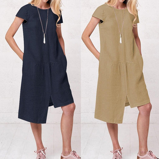 Women's 2019 Summer New Women's Casual Loose Linen Long Irregular Dress