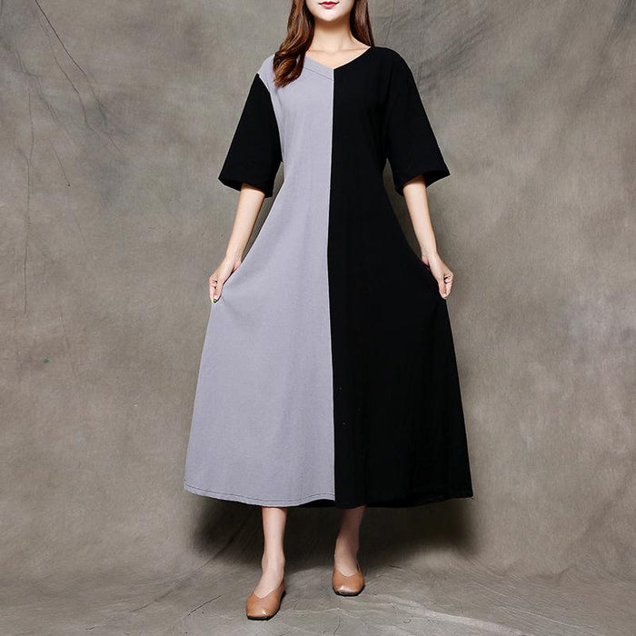 2019 Summer New Cotton and Linen Women's Color Matching Loose Tie Large Size Long Dress