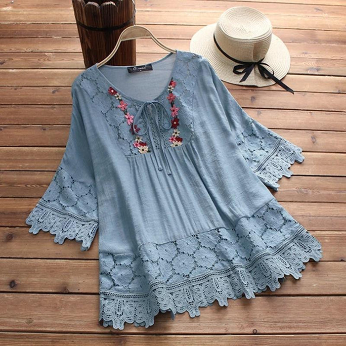 2019 Lace Stitching Solid Color V-neck Tie with Three-quarter Sleeves Loose Top