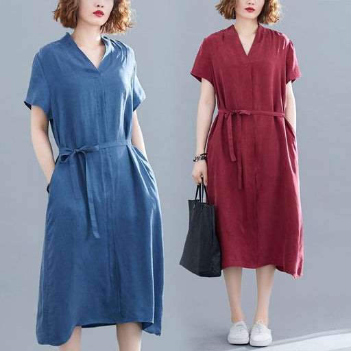 Spring and Summer New Over-the-knee Temperament Solid Color Dress Irregular Loose V-neck Short-sleeved Midi Skirt