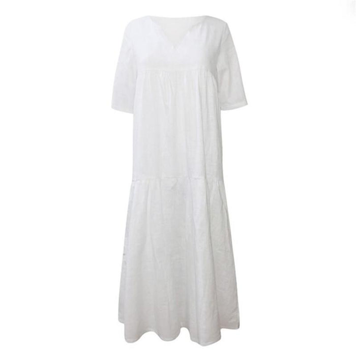 2019 New V-neck Pleated Large Size Women's Long Cotton and Linen Dress