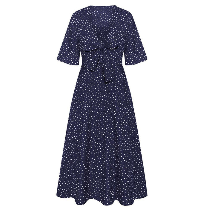 2019 New Lace Bow Long Skirt Polka Dot Print Short Sleeve Small Fresh Dress