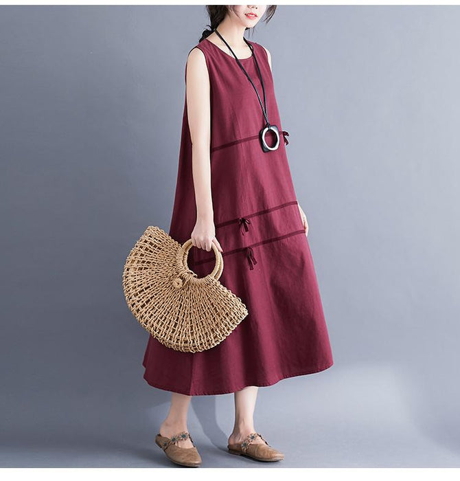 Bow Cotton and Linen Sleeveless Swing Skirt Summer 2019 New Solid Color Irregular Dress