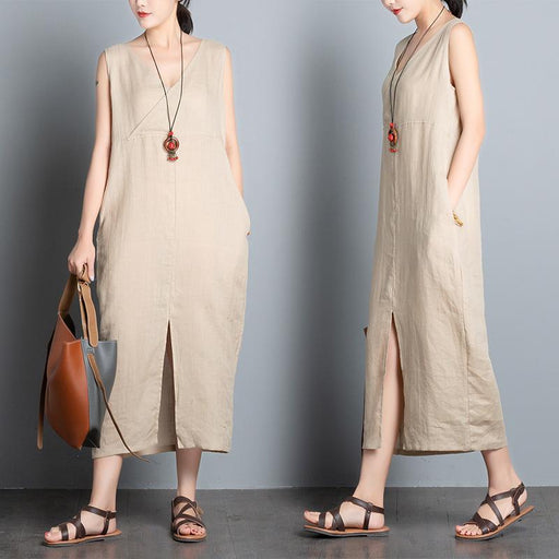 Summer New Women's Ramie Literary Casual Cotton and Linen Vest Dress Large Size Loose Dress