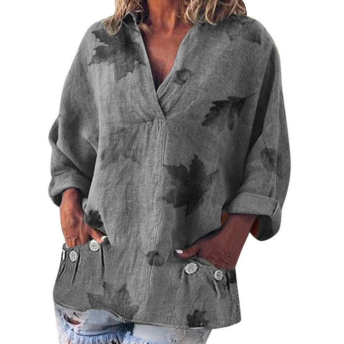 2019 Women's Loose V-neck Print Pocket Long-sleeved Linen T-shirt Top