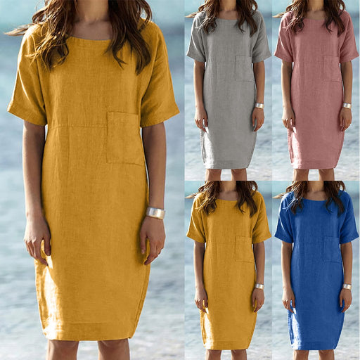 2019 Slim Round Neck Short-sleeved Cotton and Linen Dress Women's Clothing