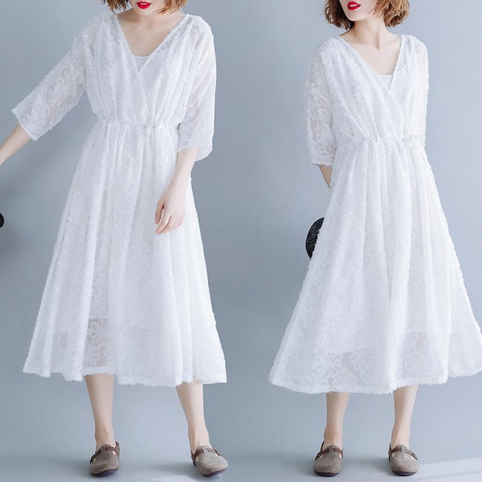 Summer Large Size Loose Thin Lace Openwork Drawstring Tie Long Dress