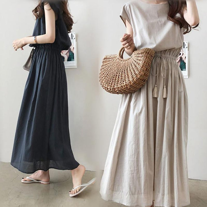 Big Swing Skirt 2019 Summer New Style Can Be Waist Loose Large Size Cotton and Linen Dress 6 Color 5 Yards