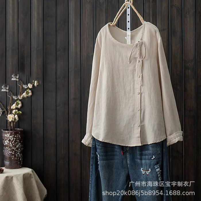 Autumn New Style Solid Color Joker Button Long Sleeve Round Neck Cotton Shirt