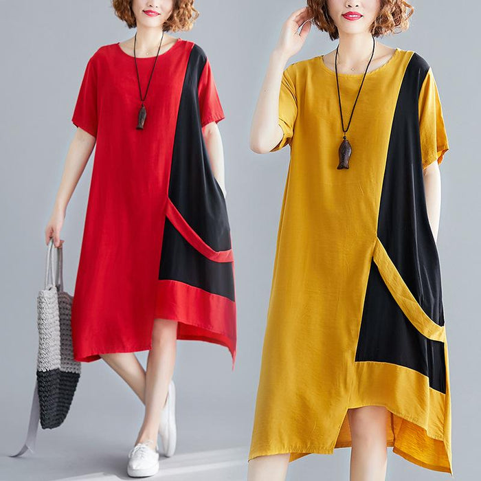 Female Summer New 2019 Loose Large Size Women's Fashion Comfortable Round Neck Long Dress