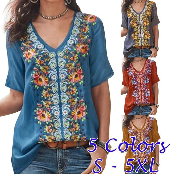 2019 Printed Short-sleeved V-neck Top Large Size Women's Clothing
