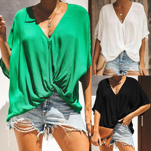 2019 Summer New European and American Style Ladies T-shirt V-neck Loose Solid Color Twisted Top