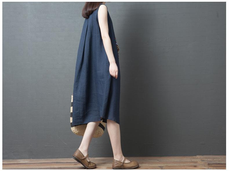 Korean Version of Loose Embroidery Flower Cotton and Linen Round Neck Sleeveless Dress Women's Long Skirt Tide 2019 Summer New Style