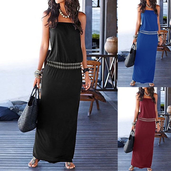 2019 Bohemian Casual Elegant Threaded Elastic Stitching Dress