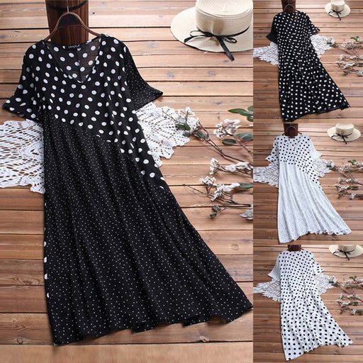 2019 Explosion Models Summer Fashion Casual Polka Dot Print Collar Stitching Dress