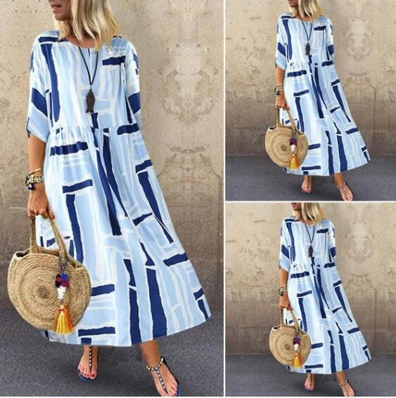 2019 Summer New Large Size Loose Literary Personality Stripe Print Long A Word Dress