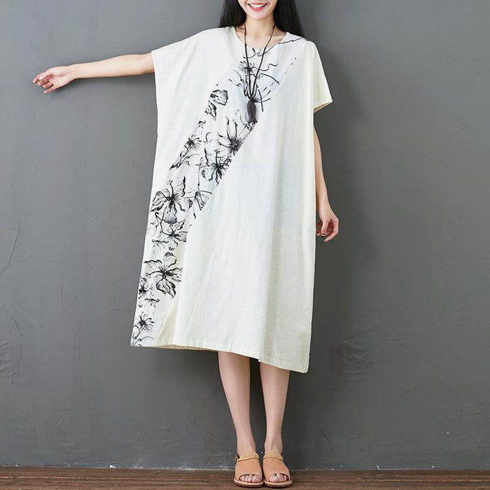2019 Cotton Linen Linen Original Print Stitching Dress In The Long Section
