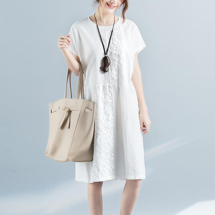 2019 Summer Large Size Women's Linen Art Embroidery Round Neck Long Section Short Sleeve Dress