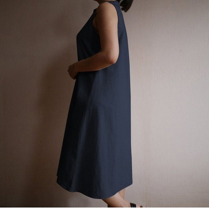 2019 Summer Loose Thin Sleeveless Vest Skirt Wind Fashion Cotton Large Size Dress Female