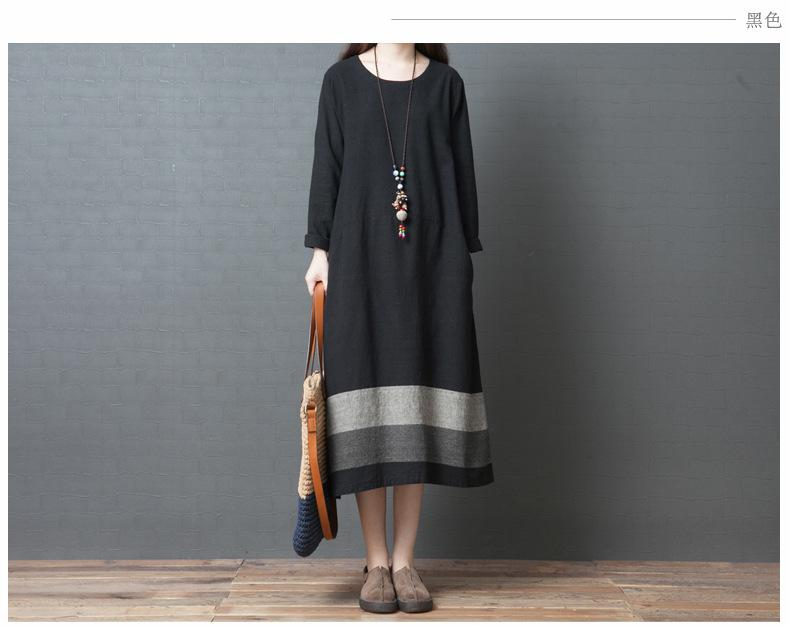 2019 Autumn New Loose Large Size Casual Cotton and Linen Striped Long-sleeved Dress Female