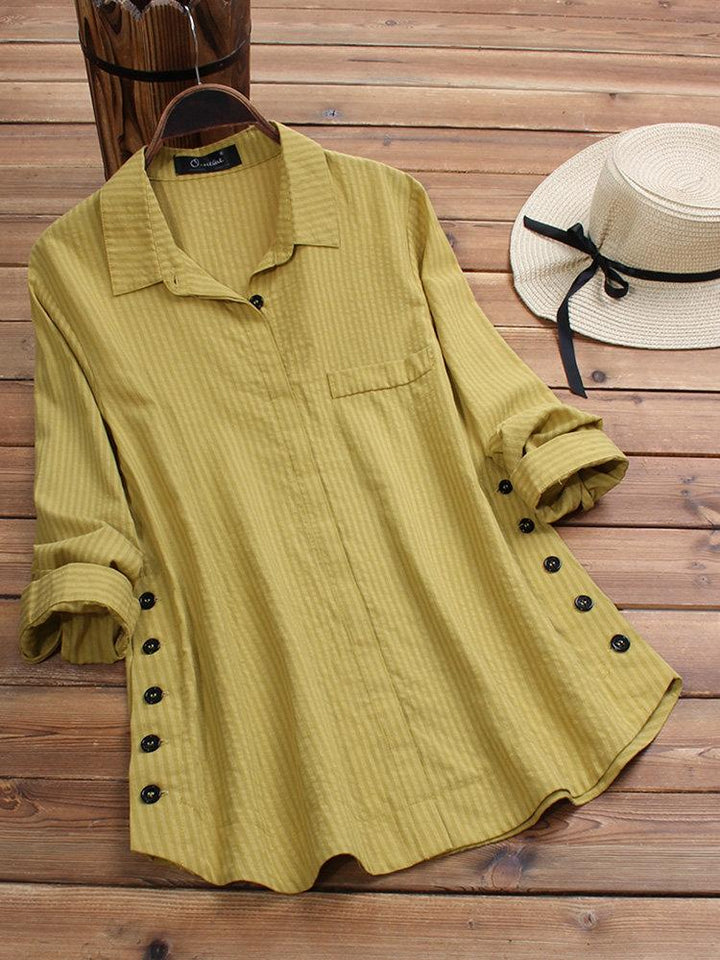 2019 Summer New Women's Solid Color Button Cotton and Linen Pocket Striped Long-sleeved Long Shirt T-shirt
