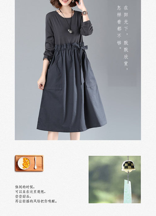 Literary Loose Stitching Cotton and Linen Round Neck Long-sleeved Dress Women's Tie Waist Long Section 2019 Autumn New