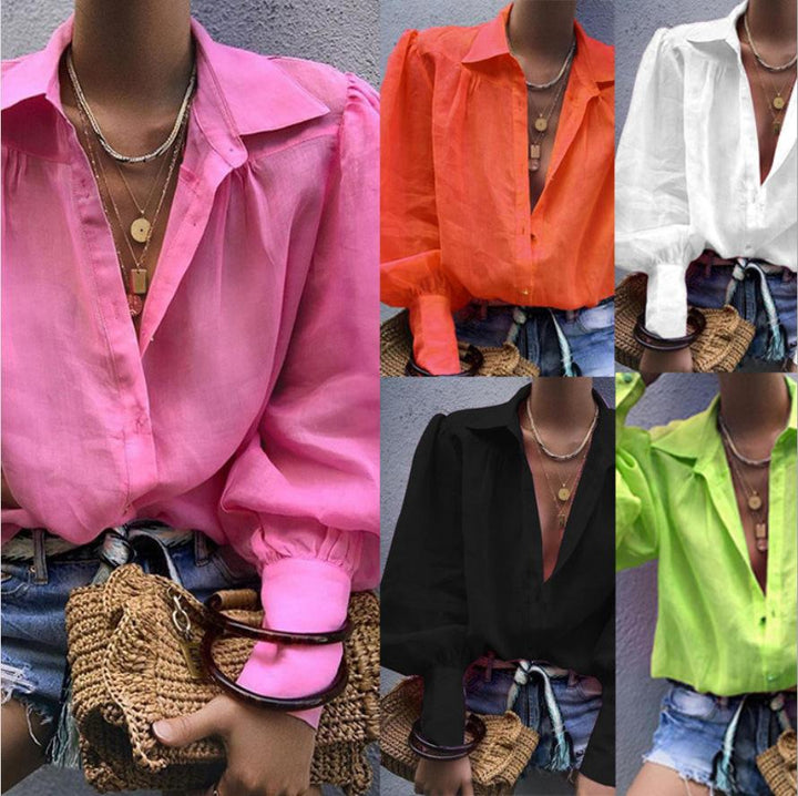 2019 European and American Loose Long-sleeved Suit Collar Shirt Ladies Shirt