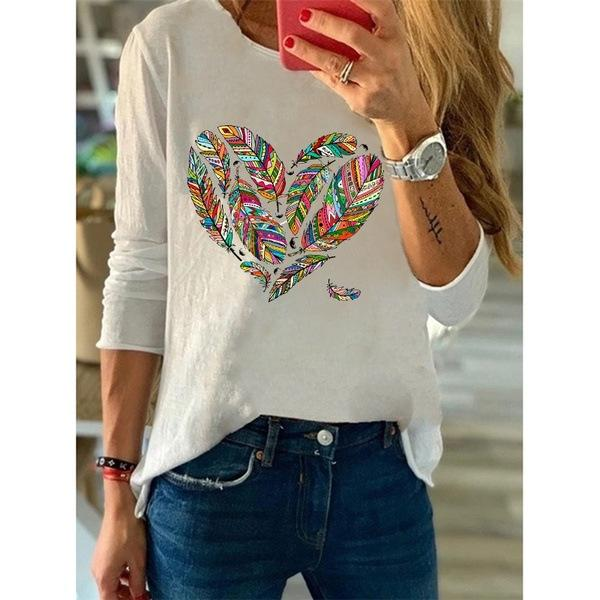2019 Hot Europe and America Print Love Long Sleeve T-Shirt Top