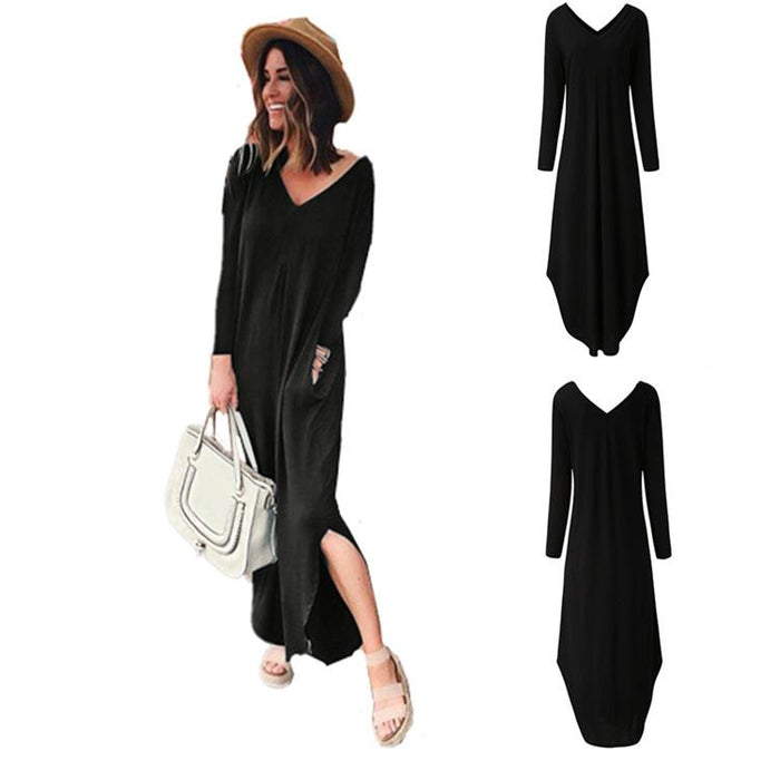 2019 Autumn and Winter Explosions V-neck Solid Color Pocket Long-sleeved Dress Women's Clothing
