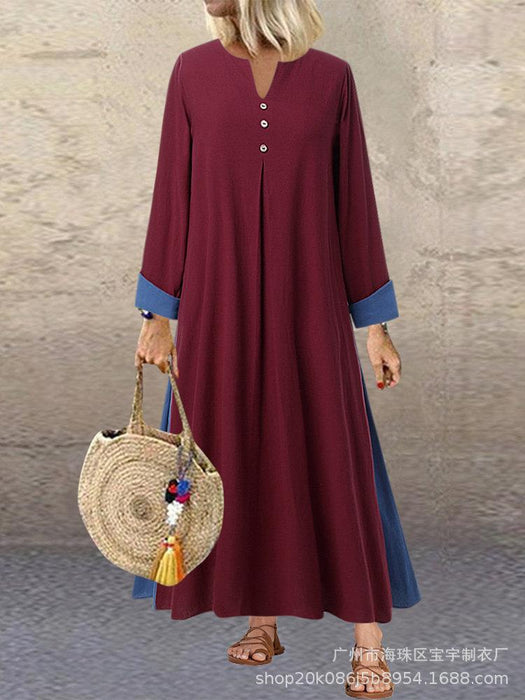 Cotton and Linen V-neck Loose Autumn and Winter Long Women's Long-sleeved Dress