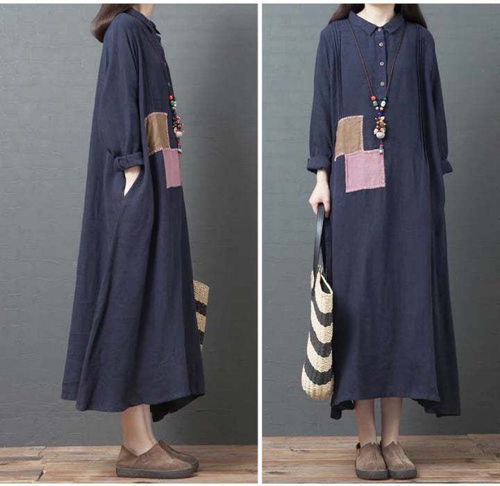 2019 Autumn Loose Large Size Casual Linen Long-sleeved POLO Collar Long Shirt Skirt Women