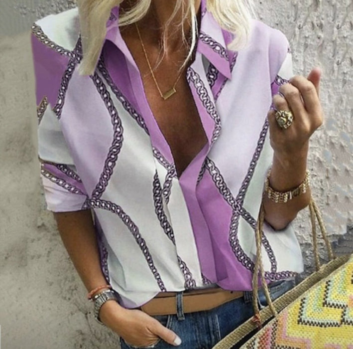 2019 Autumn and Winter Explosions Chain Printing Lapel Pullable Long-sleeved Shirt Women's Shirt