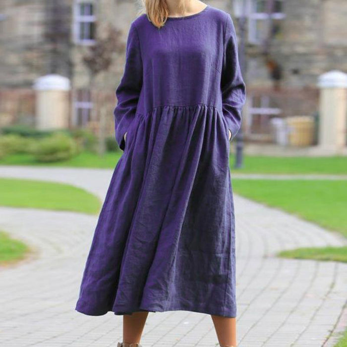 2019 New Explosions Hot Autumn and Winter Solid Color Long-sleeved Round Neck Dress
