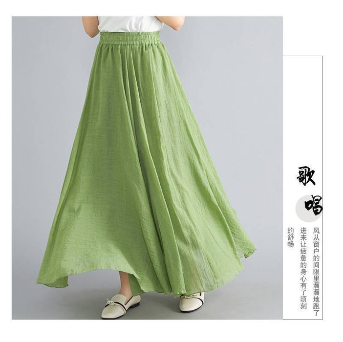 Solid Color Cotton and Linen Skirt Female Elastic Waist Linen A Word Skirt Long Paragraph Wild 2019 Summer New Real Shot