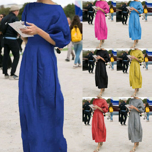 Women Cotton Linen Midi Dress Autumn Office Ladies Lantern Sleeve Dress Elegant O Neck Pleated Party Dresses Vestido