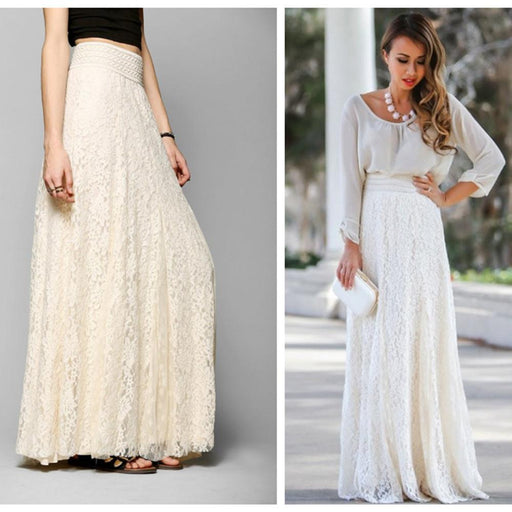 Slim Slim High Waist Openwork Lace Skirt In The Long Section of The Large Umbrella Skirt