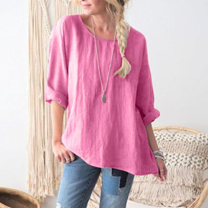 4XL 5XL Plus Size Cotton Linen Women Blouse Solid Color O-neck Long Sleeve Loose Casual Streetwear Oversized Summer Fall Shirts