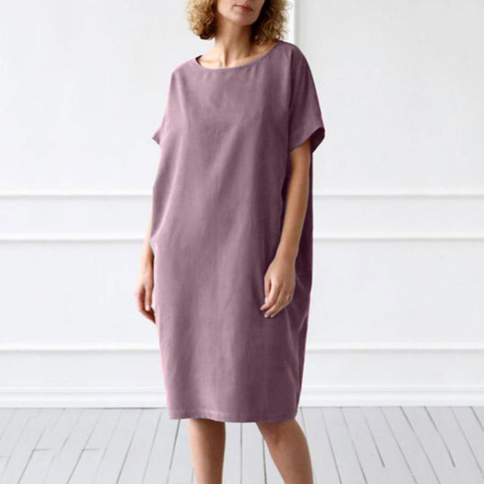 High-end custom Womens O Neck Slim fit Loose Solid Short Sleeve Casual  Cotton and Linen Dress Young artists Fastest delivery COD