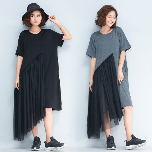 2019 Irregular Mesh Stitching Women's Clothing Large Size Long Paragraph Wild Dress