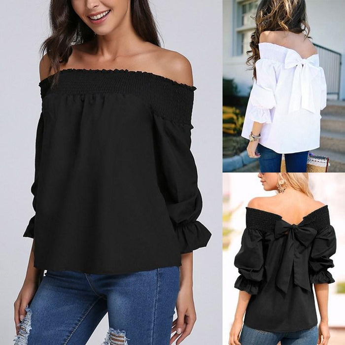 2019 Women's Collar Tie Bow T-Shirt