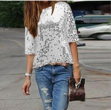 Sexy Off-the-shoulder Sequined Fashion Large Size T-shirt