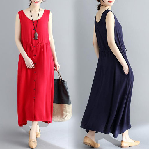 2019 Summer New Literary Female Cotton and Linen Solid Color Dress Sleeveless Vest Long Bottom Skirt Large Size Women's Clothing