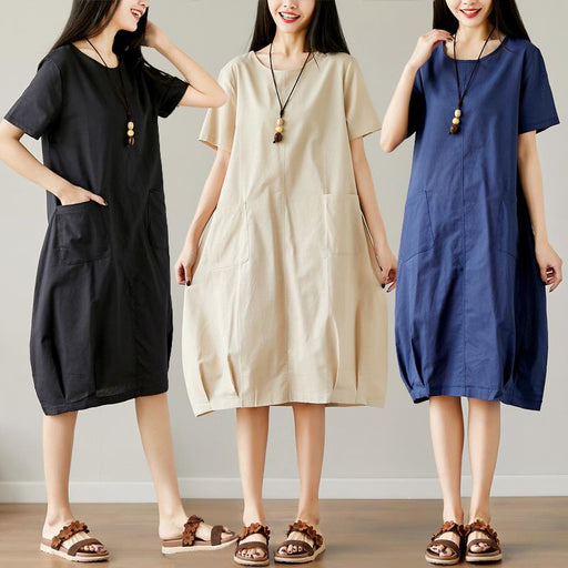 2018 Summer New Cotton and Linen Solid Color Women's Large Size Long Round Neck Short Sleeve Dress