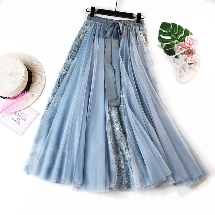 New Mesh Skirt 2019 Large Size Women's Lace Long Skirt Temperament Pettiskirt
